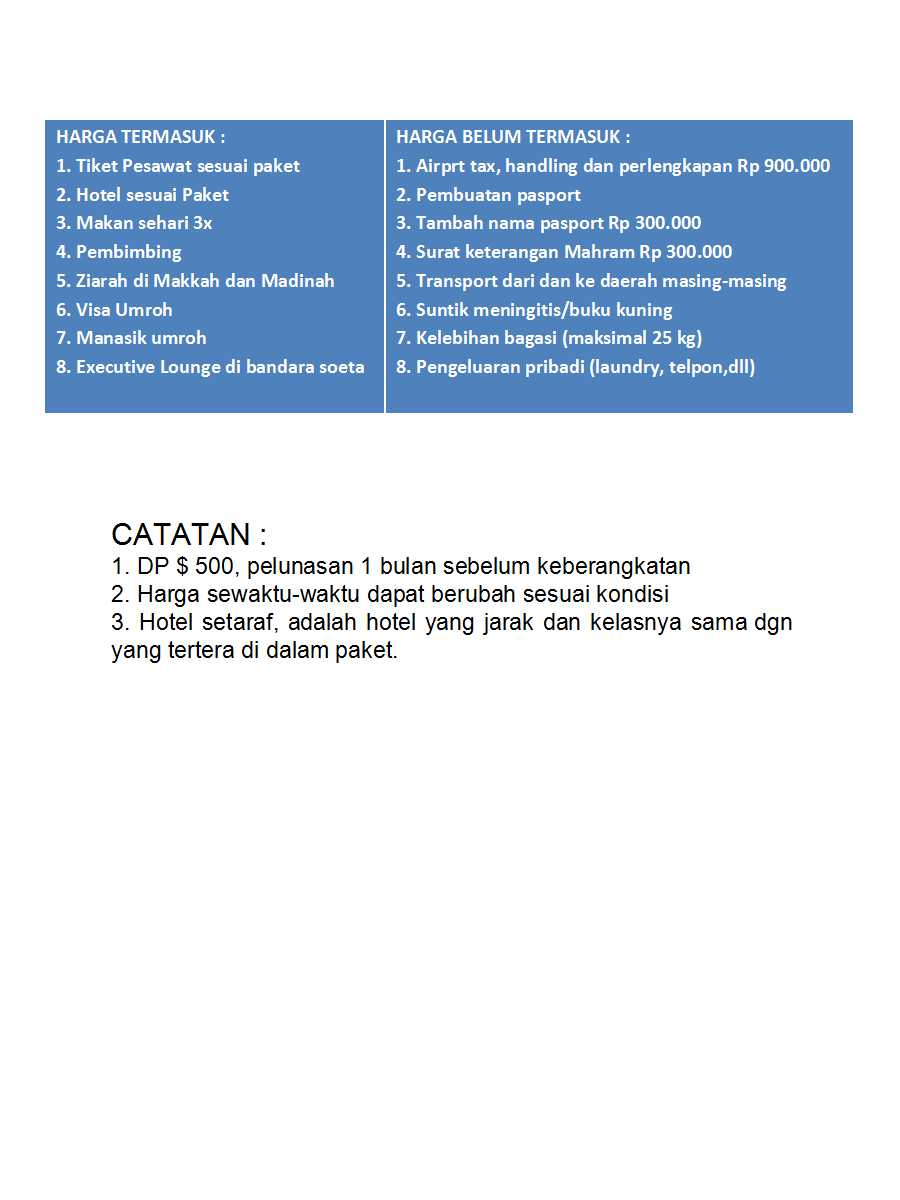 Daftar harga Sentosa wisata 2